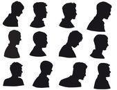Silueta muže hlava, tvář v profilu, izolovaných na bílém pozadí