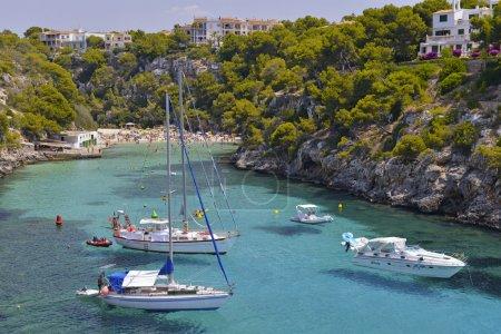 Many Tourists at the Bay of Cala Pi in Mallorca, Spain ( Baleari