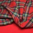 The bright scottish checked fabric and red fabric....