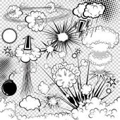 Vector comic book explosion elements Cartoon symbols