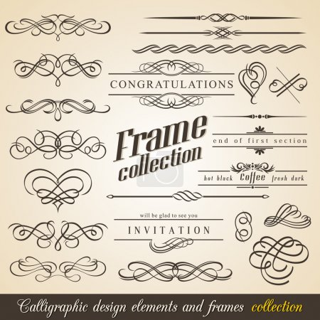 Photo pour Calligraphic Design Elements and Frames. Collection Vintage. Vecteur . - image libre de droit