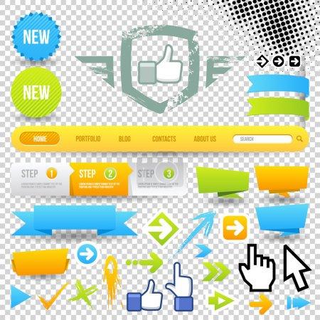 Illustration pour Icône de modèle Web et flèches. éléments de Design. navigation du site. - image libre de droit