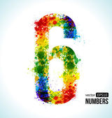 Color Paint splashes Gradient Vector Font Number 6