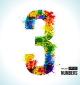 Color Paint splashes Gradient Vector Font Number 3