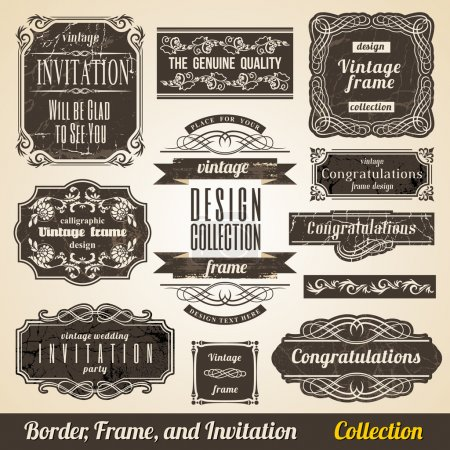 Calligraphic Element Border Corner Frame and Invitation Collecti