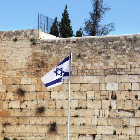 Israeli flag at the Western Wall, Jerusalem