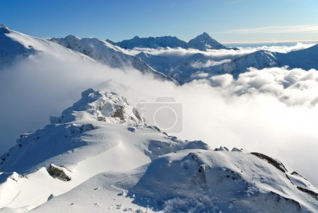 Snow capped summit of Tatry high under clear skies