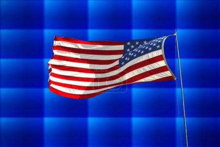 Photo for Flag of the United States of America over abstract background - Royalty Free Image