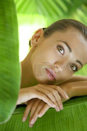 Photo pour Portrait de jeune belle femme sur les feuilles vertes retour - image libre de droit