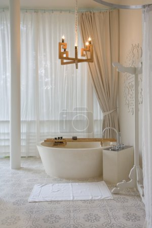 Photo for Panoramic view of nice stylish bathroom with some accessories - Royalty Free Image