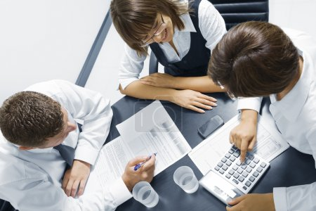 Portrait of young business discussing project in office environment
