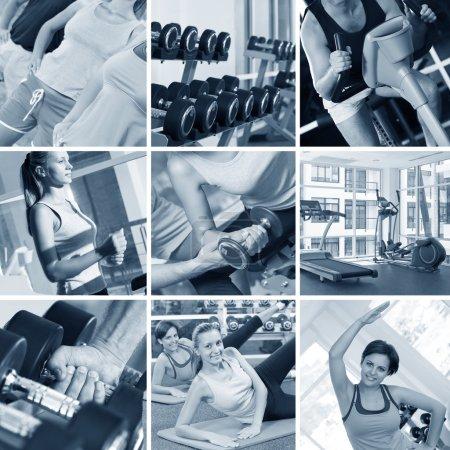 Photo pour Thème fitness collage photo noir et blanc composé de quelques images - image libre de droit