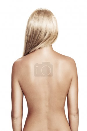 Photo for View of nice young wonam back on white back - Royalty Free Image