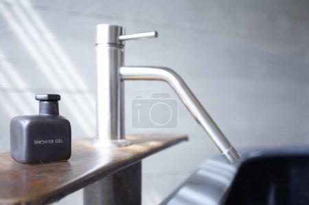Close up fragment of modern industrial like bath