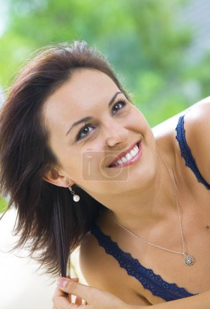 Photo for Portrait of happy young attractive woman in domestic environment - Royalty Free Image