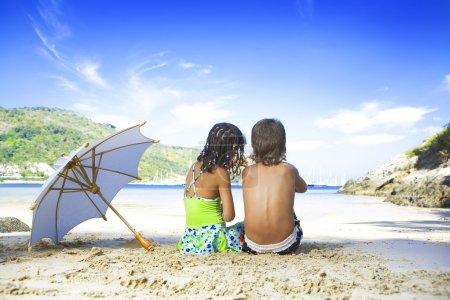 Portrait of little kids having good time in summer environment
