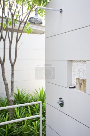 View of nice stylish summer house shower place