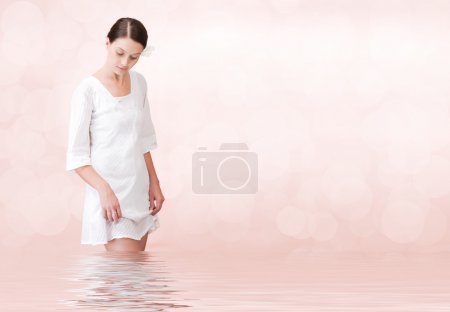 Photo for Portrait of young beautiful woman on pink background - Royalty Free Image