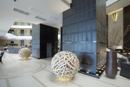Photo for Panoramic view of nice modern stylish building lobby interior - Royalty Free Image