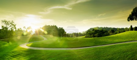 Photo pour Vue de belle colline verte sur fond de ciel bleu - image libre de droit