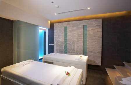 Panoramic view of nice modern bath and massage roo...