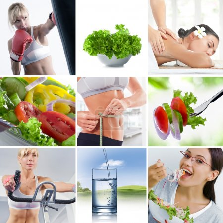 Photo for Healthy lifestyle  theme collage composed of different images - Royalty Free Image