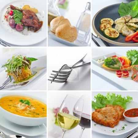 Photo pour Collage thématique nourriture et boisson composé de quelques images différentes - image libre de droit