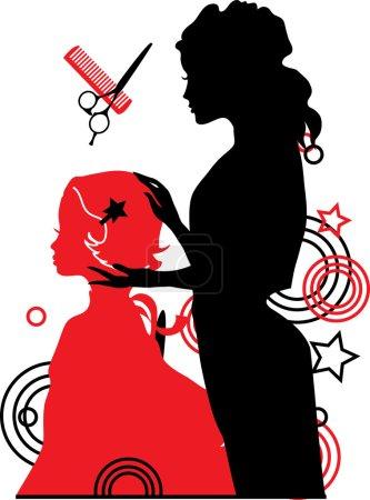 Illustration pour Barbier et une fille vecteur illustration - image libre de droit