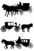 Sziluettjét ló és kocsi