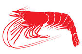 Red boiled shrimp in vector format