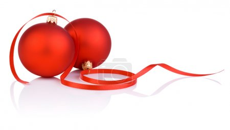 Two red christmas balls and tape Isolated on white background