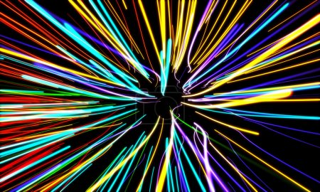 Photo for Zoom motion neon glowing lights lines - Royalty Free Image