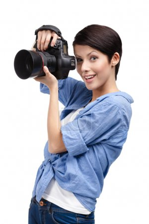 Creative lady-photographer takes images