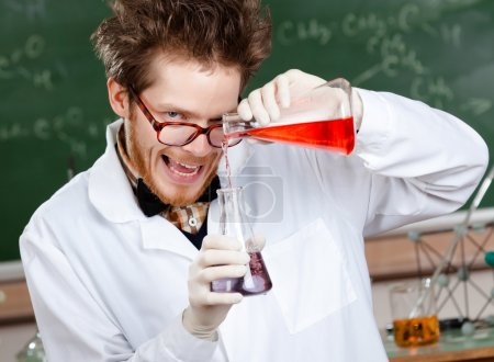 Crazy professor mixes two liquids