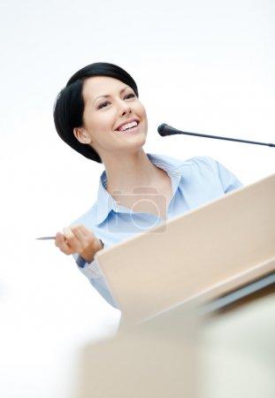 Woman orator at the podium