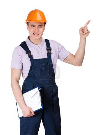 Foreman pointing upward