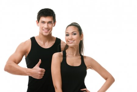 Two positive sportive in black sportswear