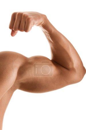 Photo pour Gros plan de la main de l'homme avec biceps, isolé sur blanc - image libre de droit