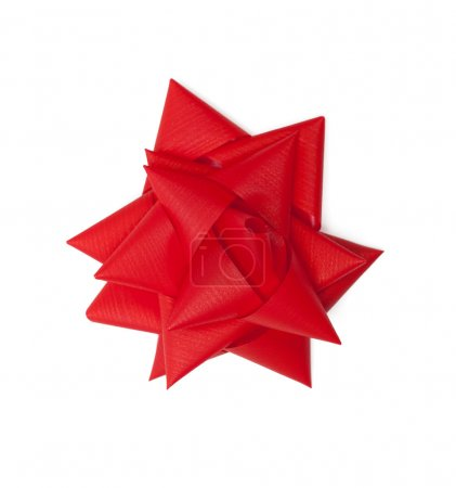 Photo for Red satin gift bow, isolated on white. Symbol of party and happy holiday - Royalty Free Image