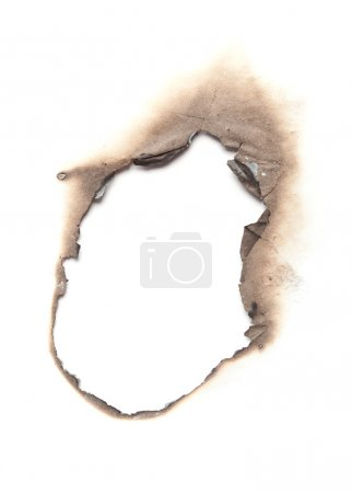 Burned paper isolated on white background