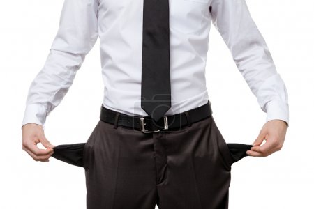 Broke business man with empty pockets