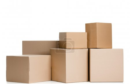 Photo for Set of boxes, isolated, white background - Royalty Free Image