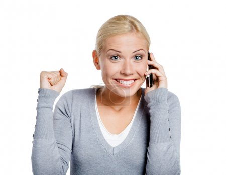 Smiley girl speaking on phone