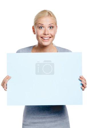Female keeping huge sheet of paper