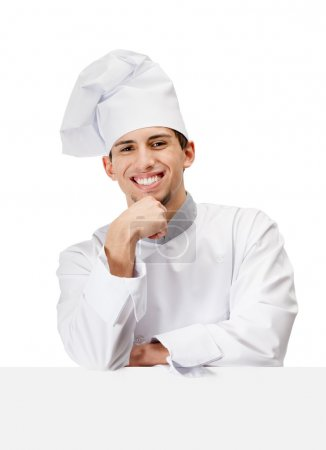 Chef cook props head with hand