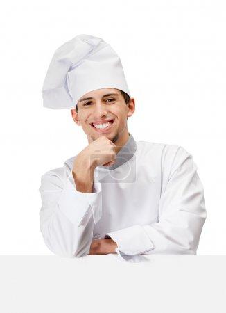 Photo pour Chef cuisinier en uniforme accessoires tête à la main, isolé sur blanc - image libre de droit