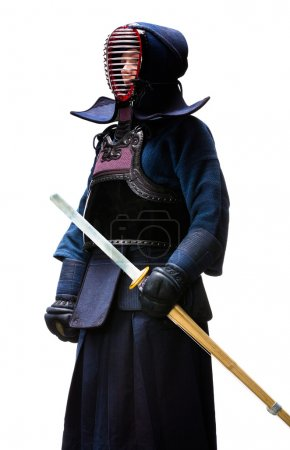 Full length portrait of kendo fighter, isolated on...
