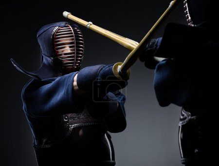 Competition of two kendo fighters. Japanese martia...