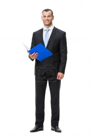 Photo for Full-length portrait of business man handing folder, isolated on white. Concept of leadership and success - Royalty Free Image