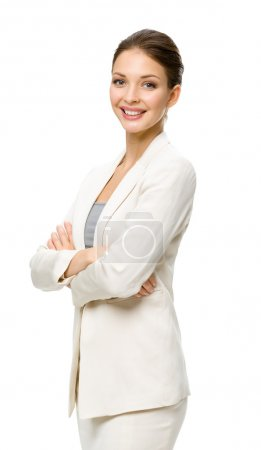 Photo for Half-length portrait of businesswoman with hands crossed, isolated on a white - Royalty Free Image